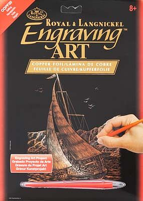 Royal Brush Manufacturing Copper Foil Engraving Art Sailing -- Scratch Art Metal Art Kit -- #copf30