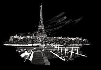 Silver Foil Engraving Art Eiffel Tower Scratch Art Metal Art Kit #fam3