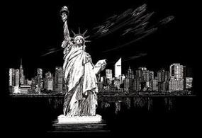 Royal-Brush Slvr Foil Engraving Statue/Liberty Scratch Art Metal Art Kit #fam6