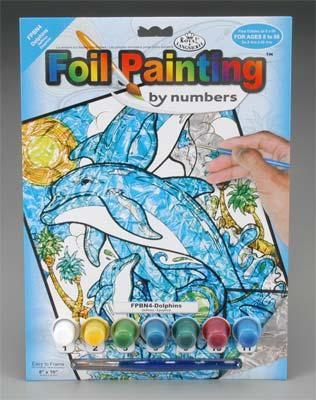 Royal Brush Manufacturing Foil Painting by Number Dolphins -- Scratch Art Metal Art Kit -- #fpbn-4
