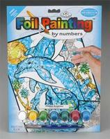 Royal-Brush Foil Painting by Number Dolphins Scratch Art Metal Art Kit #fpbn-4