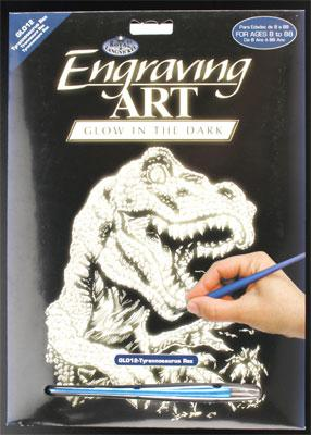Royal Brush Manufacturing Glow/Dark Foil Engraving Art T-Rex -- Scratch Art Metal Art Kit -- #glo12