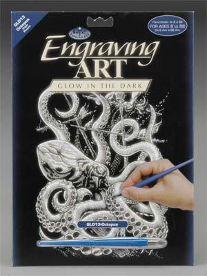 Royal Brush Manufacturing Glow/Dark Engraving Art Octopus -- Scratch Art Metal Art Kit -- #glo13