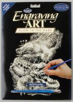 Royal-Brush Glow/Dark Foil Engraving Crocodiles Scratch Art Metal Art Kit #glo16