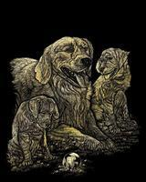 Royal-Brush Gold Foil Engrv Gldn Retriever/Pups Scratch Art Metal Art Kit #golf11