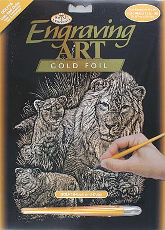 Royal Brush Manufacturing Gold Foil Engraving Art Lion & Cub -- Scratch Art Metal Art Kit -- #golf14