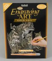 Royal-Brush Gold Foil Engraving Art Fox & Cubs Scratch Art Metal Art Kit #golf16