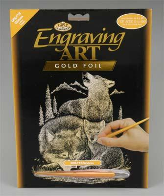 Royal Brush Manufacturing Gold Foil Engraving Art Wolves -- Scratch Art Metal Art Kit -- #golf18