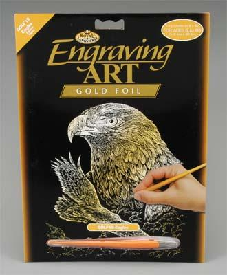 Royal Brush Manufacturing Gold Foil Engraving Art Eagles -- Scratch Art Metal Art Kit -- #golf19