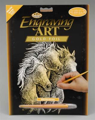 Royal Brush Manufacturing Gold Foil Engraving Art Horses -- Scratch Art Metal Art Kit -- #golf20