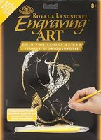 Royal-Brush Gold Foil Engraving Art 3 Headed Dragon Scratch Art Metal Art Kit #golf26