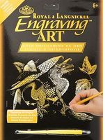 Royal-Brush Gold Foil Engraving Art Baby Dragon Scratch Art Metal Art Kit #golf28