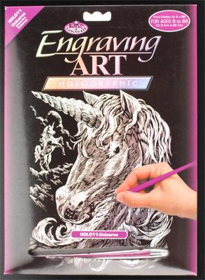 Royal Brush Manufacturing Holographic Foil Engraving Unicorn -- Scratch Art Metal Art Kit -- #holo11