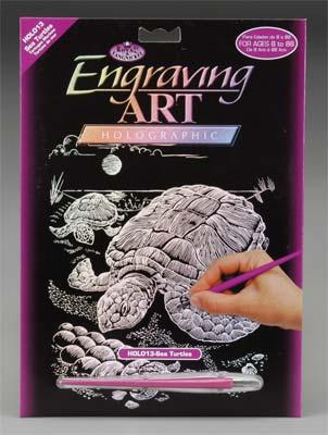 Royal Brush Manufacturing Holographic Foil Engrv Sea Turtle -- Scratch Art Metal Art Kit -- #holo13