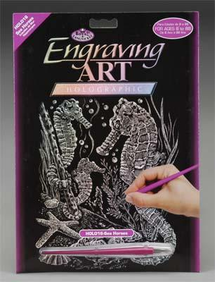 Royal Brush Manufacturing Holographic Foil Engrv Seahorses -- Scratch Art Metal Art Kit -- #holo16