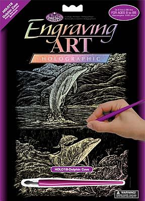 Royal Brush Manufacturing HLGR Foil Dolphin Cove -- Scratch Art Metal Art Kit -- #holo18