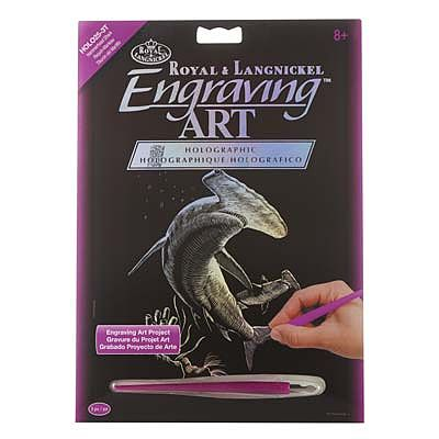 Royal Brush Manufacturing Holographic EA Hammerhead Shark -- Scratch Art Metal Art Kit -- #holo25