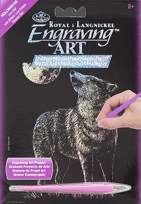 Lone Wolf Scratch Art Metal Art Kit #holomin-106