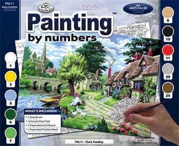 Royal Brush Manufacturing PBN Duck Feeding 15x11-1/4 -- Paint By Number Kit -- #pal11