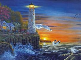 Royal-Brush PBN Waterside Lighthouse 15x11-1/4 Paint By Number Kit #pal18