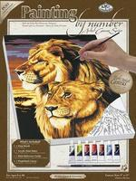 Royal-Brush PBN Canvas Lion & Lioness 9x12 Paint By Number Kit #pc53
