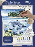 Royal-Brush PBN Canvas Dolphin Island 9x12 Paint By Number Kit #pcs13