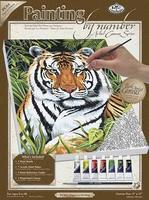 Royal-Brush PBN Canvas Tiger in Hiding 9x12 Paint By Number Kit #pcs4