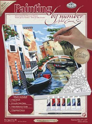 Royal Brush Manufacturing PBN Canvas Venetian Scene 9x12 -- Paint By Number Kit -- #pcs5
