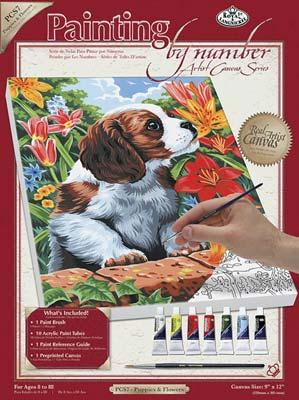 Royal Brush Manufacturing PBN Canvas Puppy & Flowers 9x12 -- Paint By Number Kit -- #pcs7