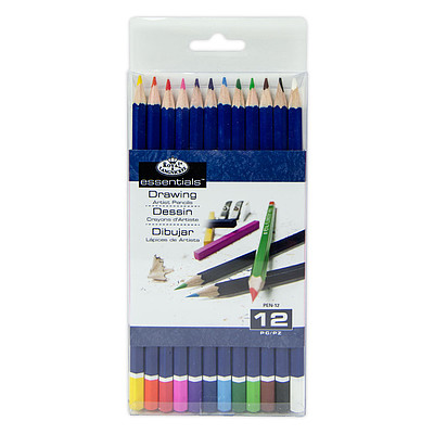 Royal Brush Manufacturing 12pc Color Pencils Set -- Drawing Kit -- #pen-12-3t