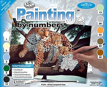 Royal Brush Manufacturing JR PBN Large African Leopard -- Paint By Number Kit -- #pjl24