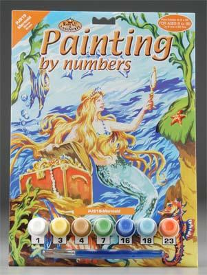 Royal Brush Manufacturing Junior PBN Mermaid 8-3/4x11-3/4 -- Paint By Number Kit -- #pjs19