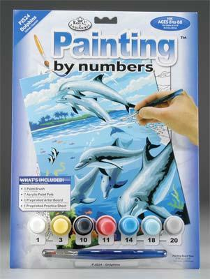 Royal Brush Manufacturing Junior PBN Dolphins 8-3/4x11-3/4 -- Paint By Number Kit -- #pjs24