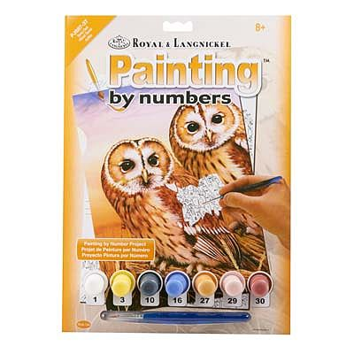Royal Brush Manufacturing PBN JR Small Tawny Owls -- Paint By Number Kit -- #pjs87