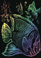 Royal-Brush Rainbow Foil Engrvng Tropical Fish Scratch Art Metal Art Kit #rain11