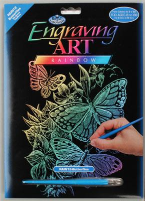 Royal Brush Manufacturing Rainbow Foil Engraving Butterflies -- Scratch Art Metal Art Kit -- #rain12