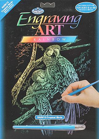 Royal Brush Manufacturing Rainbow Foil Engraving Art Tropical Birds -- Scratch Art Metal Art Kit -- #rain13