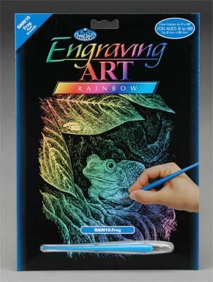 Royal Brush Manufacturing Rainbow Engraving Art Frog -- Scratch Art Metal Art Kit -- #rain15