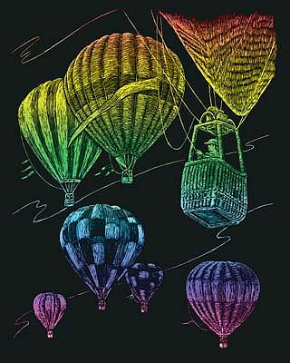 Royal Brush Manufacturing Rainbow Engraving Art Hot Air Balloons -- Scratch Art Metal Art Kit -- #rain23