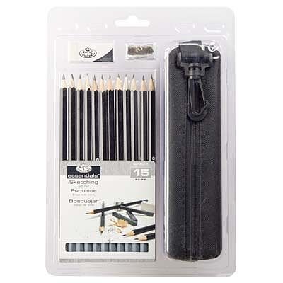 Royal Brush Manufacturing 15pc Sketching Pencil Clamshell -- Drawing Kit -- #rart-2202