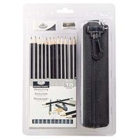 Royal-Brush 15pc Sketching Pencil Clamshell Drawing Kit #rart-2202