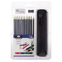 Royal-Brush 15pc Drawing Pencil Clamshell Drawing Kit #rart-2203