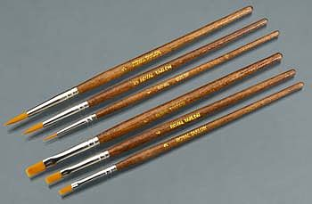 Royal Brush Manufacturing Gold Taklon Shaders 2/4/6 Rounds 1/3/5 (6)