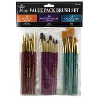 Royal-Brush 30pc Bristle/Camel/Gold Taklo