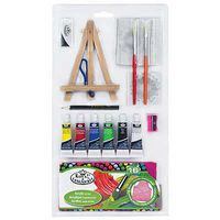 Royal-Brush 16pc Mini Art Set w/Prepainted Canvas Paint By Number Kit #rset-ms110