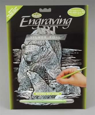 Royal Brush Manufacturing Silver Foil Engraving Polar Bear & Cubs -- Scratch Art Metal Art Kit -- #silf14