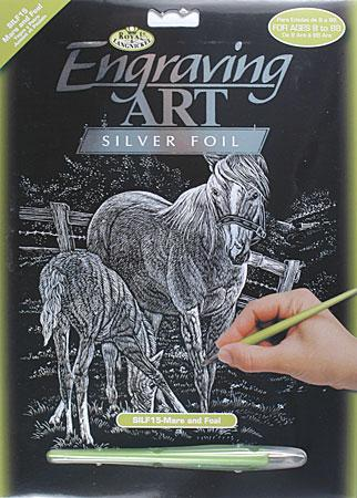 Royal Brush Manufacturing Silver Foil Engraving Art Mare & Foal -- Scratch Art Metal Art Kit -- #silf15