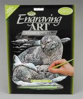 Royal-Brush Silver Foil Engraving Seal/Pup Scratch Art Metal Art Kit #silf16