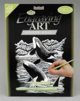 Royal-Brush Silver Foil Engraving Art Orca Whale Scratch Art Metal Art Kit #silf19