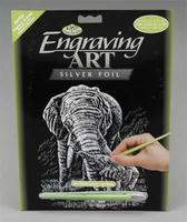 Royal-Brush Silver Foil Engraving Art Elephant & Baby Scratch Art Metal Art Kit #silf22
